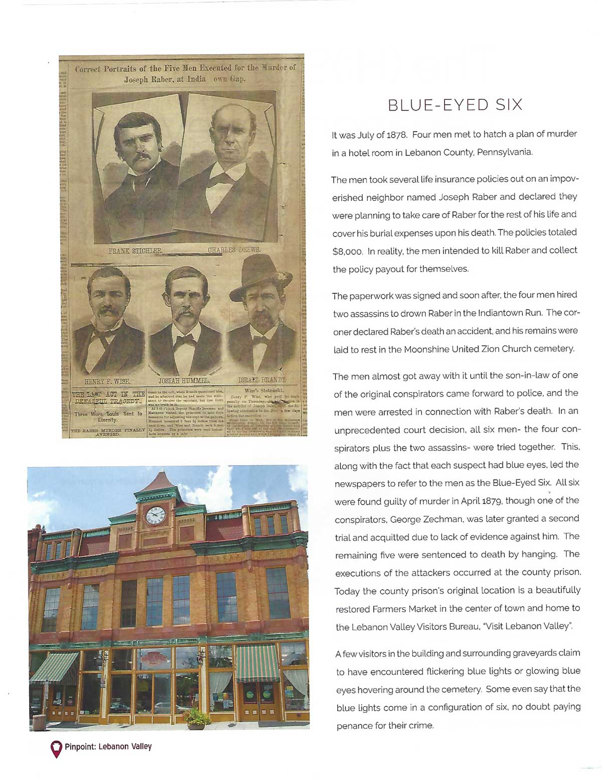 Pinpoint: Pennsylvania Article Featuring the Blue-Eyed Six | Visit Lebanon Valley